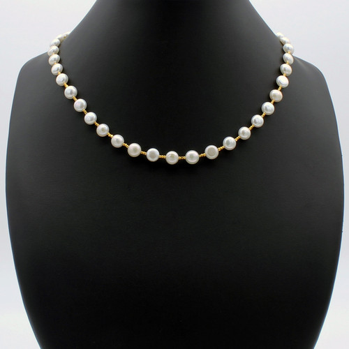 Half-round freshwater pearl necklace with 22k gold plated beads and a magnetic clasp