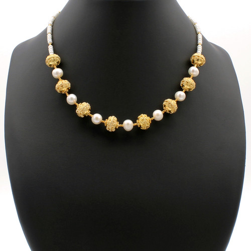 Ashray freshwater pearl necklace with 22k gold plated beads and copper accents