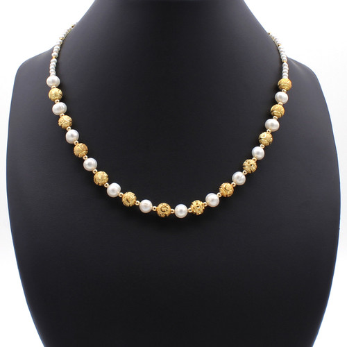 Avalon freshwater pearl necklace with copper and 22k gold plated beads