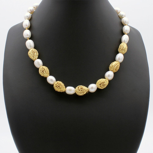 Nereid's Treasure freshwater pearl necklace with hollow copper beads and 22k gold plated beads