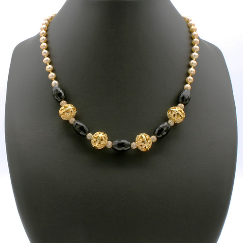 Nena necklace - champagne freshwater pearls, faceted black onyx, cubic zirconia encrusted orbs, and 22k gold plated beads