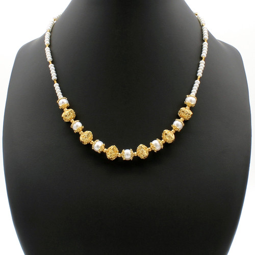 Doris necklace- freshwater pearls strung with 22k gold plated beads and copper findings