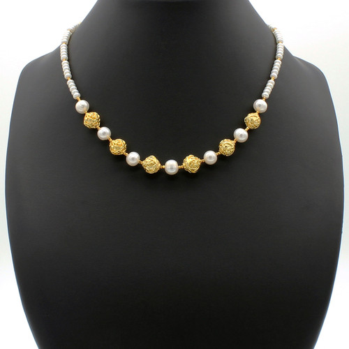 Nereus necklace - freshwater pearls and intricate round copper orbs with 22k gold plated beads