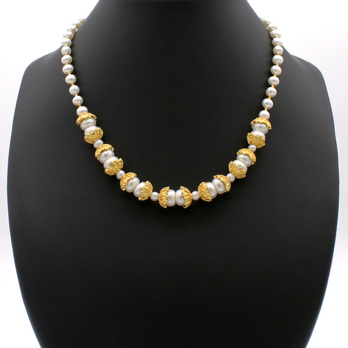 Calypso necklace - freshwater pearls with 22k gold plated beads and copper accents