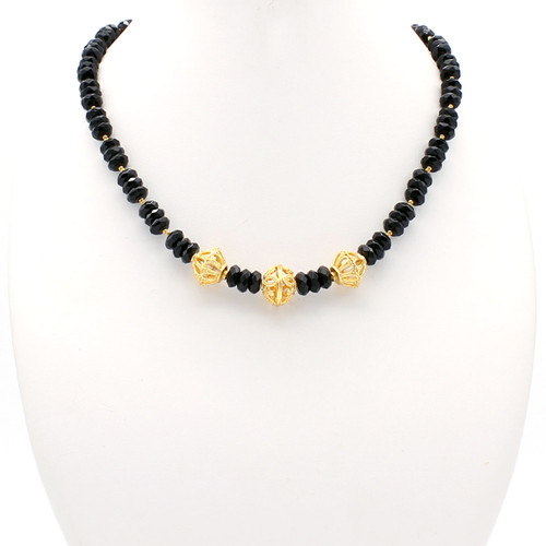 Freya necklace - faceted black onyx with hollow copper chambers and 22k gold plated beads