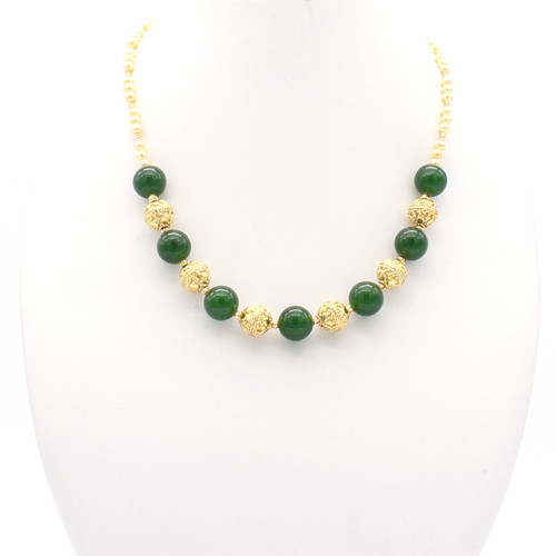 Large round jade stones with champagne freshwater pearls and 22k gold beads