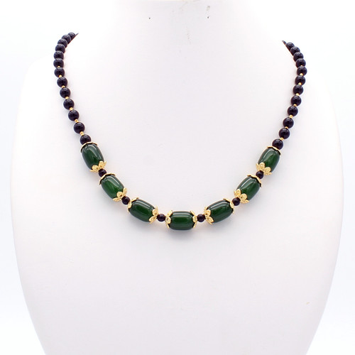 Flora necklace - large jade barrels with copper cuffs, smooth black onyx and 22k gold plated beads