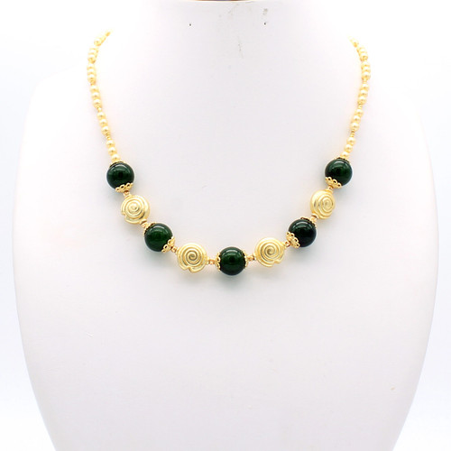 Ceres necklace - jade spheres with copper spirals on a chain of champagne freshwater pearls and 22k gold plated beads