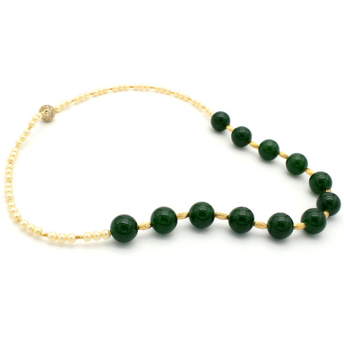 Feronia jade and pearl necklace at Abson Inc