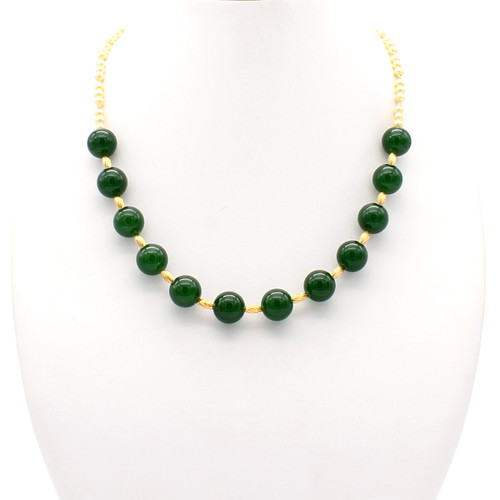 Feronia necklace - large jade spheres and champagne freshwater pearls with 22k gold plated beads and copper twists