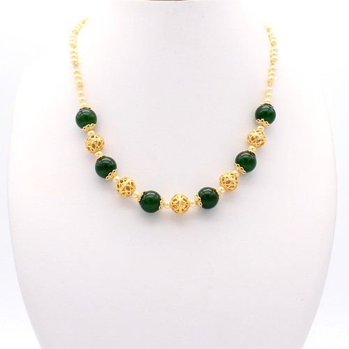 Diana necklace - jade spheres and freshwater pearls with elegant copper accents and 22k gold plated beads