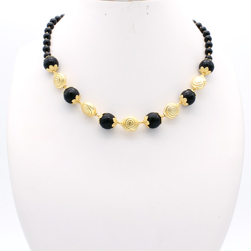 Macaria necklace - inscribed black onyx with 22k gold plated beads and copper details