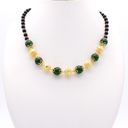 Demeter necklace - round jade and black onyx stones with 22k gold plated beads and copper globes