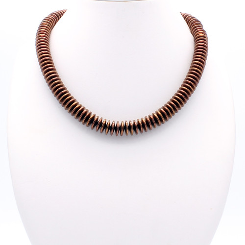 Minerva necklace - bronze colored hematite rings with a cubic zirconia studded clasp