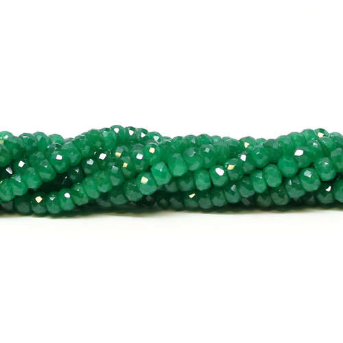Bright green faceted rondelle emerald beads, 6 mm