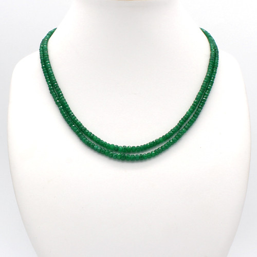 Faceted green emerald necklace