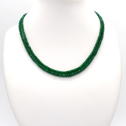 Two line faceted emerald necklace