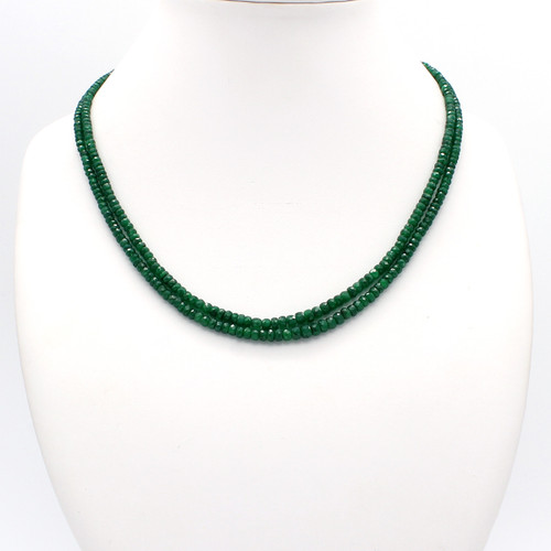 Dark green faceted emerald necklace