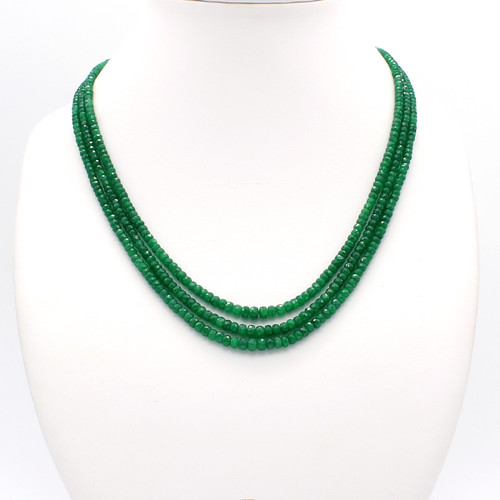Three Layer Graduated Emerald Necklace