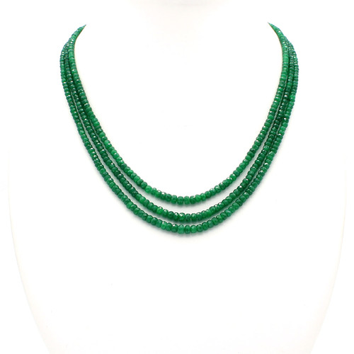 Natural faceted rondelle emerald bead necklace, graduated