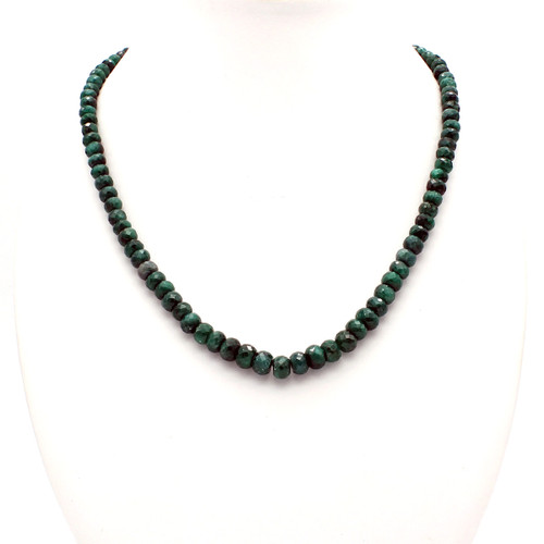 Natural large faceted emerald bead necklace