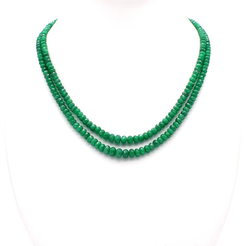 Natural green emerald necklace, graduated