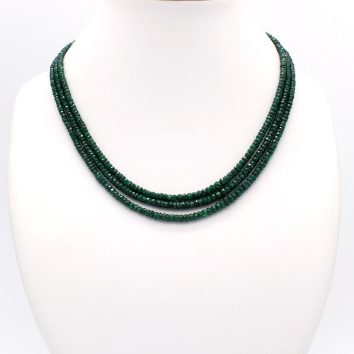 Three Layer Dark Green Emerald Necklace