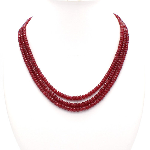 Three Layer Ruby Necklace