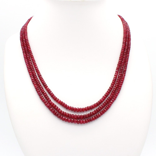 Three Layer Graduated Ruby Necklace, 200 carats