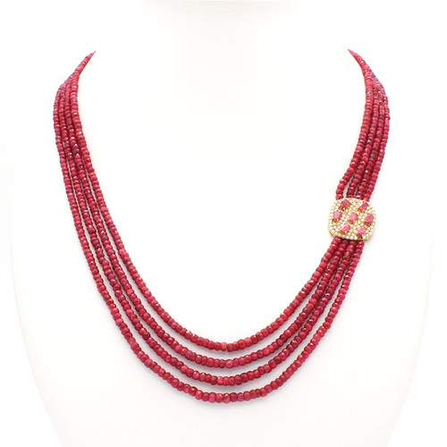 Four Layer Ruby Necklace with Pendant, 300 carats