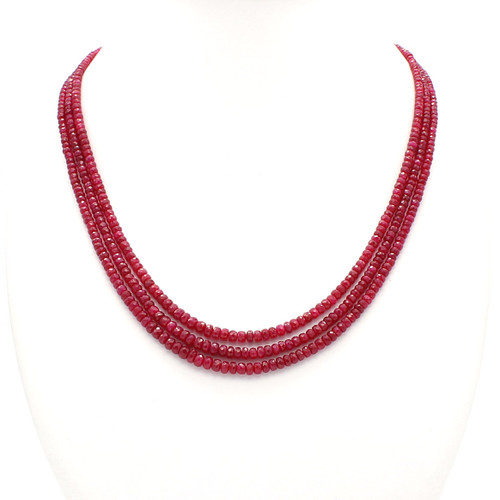 Natural faceted rondelle red ruby necklace