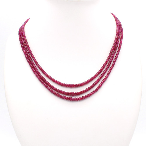 Three Layer Smooth Ruby Necklace