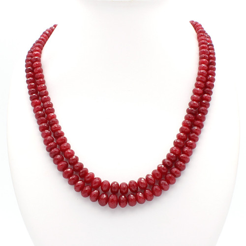 Bright red natural ruby bead necklace, two layers