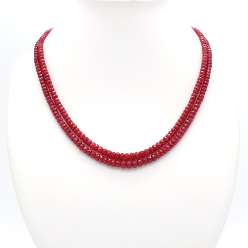 Two Layer Graduated Ruby Necklace