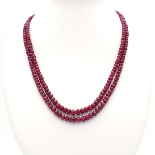 Two Layer Graduated Smooth Ruby Necklace