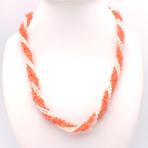 Natural pink coral branches and freshwater pearl necklace