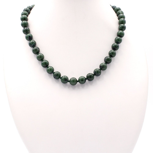 Natural 10mm nephrite jade bead necklace at Abson Inc