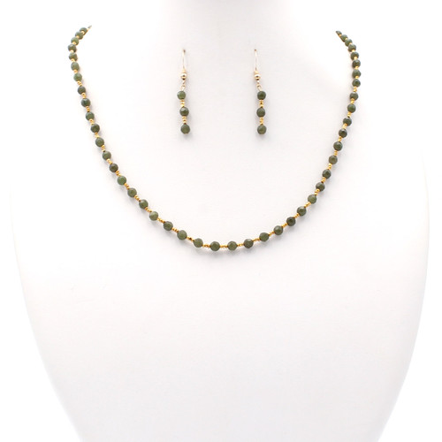 Small Faceted Jade Set