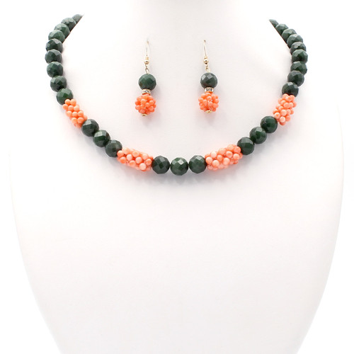 Dark green faceted jade and light pink natural coral cluster necklace and earrings