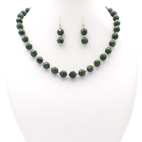 Large Faceted Jade Set