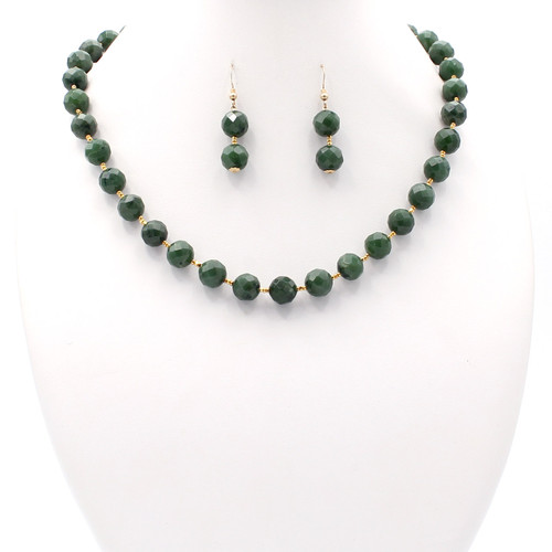 round faceted natural green nephrite jade necklace with gold beads