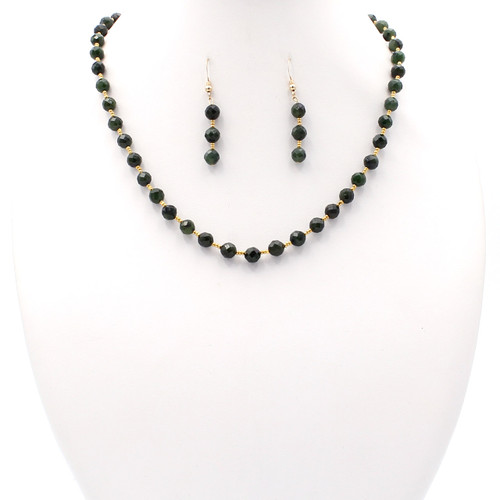 Matching natural Canadian nephrite jade necklace and earrings