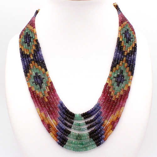 Traditional Indian ruby emerald sapphire pattern necklace