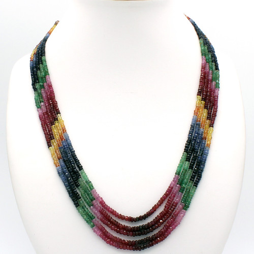 Natural faceted ruby emerald blue and yellow sapphire necklace