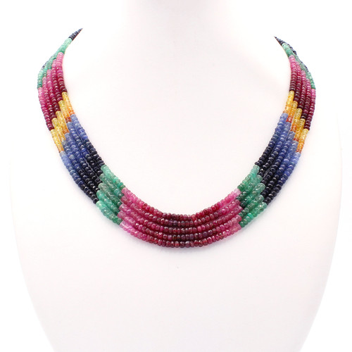 Five Layer Ruby, Emerald, & Sapphire Necklace