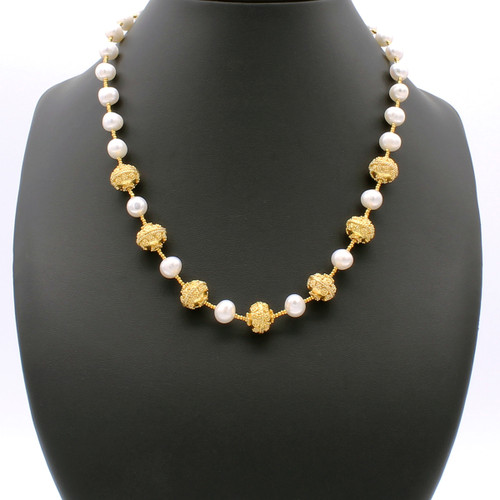 Vellamo necklace - freshwater pearls with 22k gold plated beads and copper accents