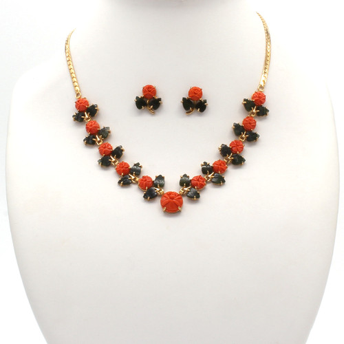 Momo coral flowers with jade leaf stones with gold necklace and earrings