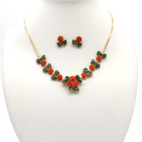 Red natural coral roses and dark green jade leaf with gold plated setting matching necklace and earrings