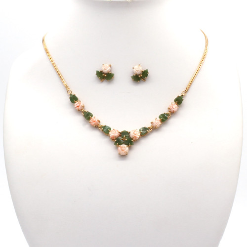 Pale pink coral and jade flowers and gold necklace earring set