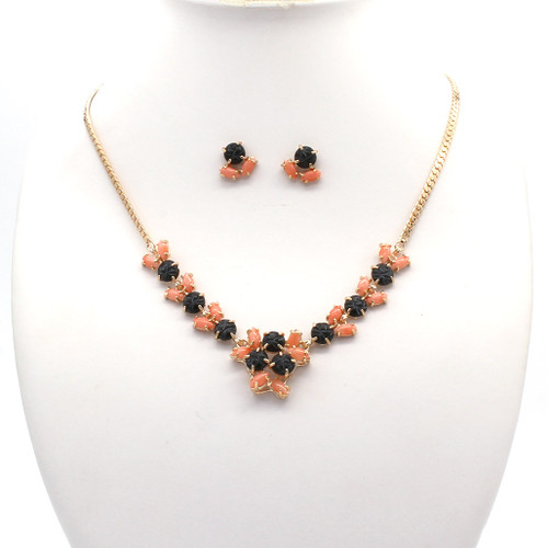 Gold plated necklace and earrings with jade and coral